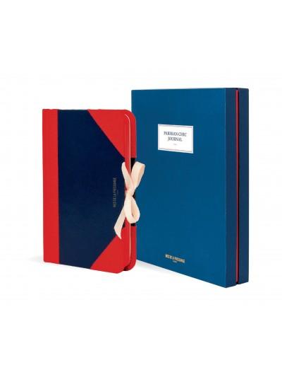 Parisian Chic Journal – MÉDIO (Azul com detalhes em vermelho)